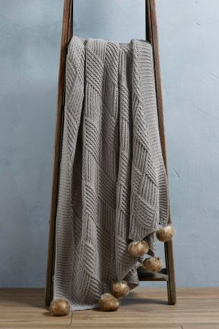 Buy Grey Knitted Pom Pom Throw from the Next UK online shop