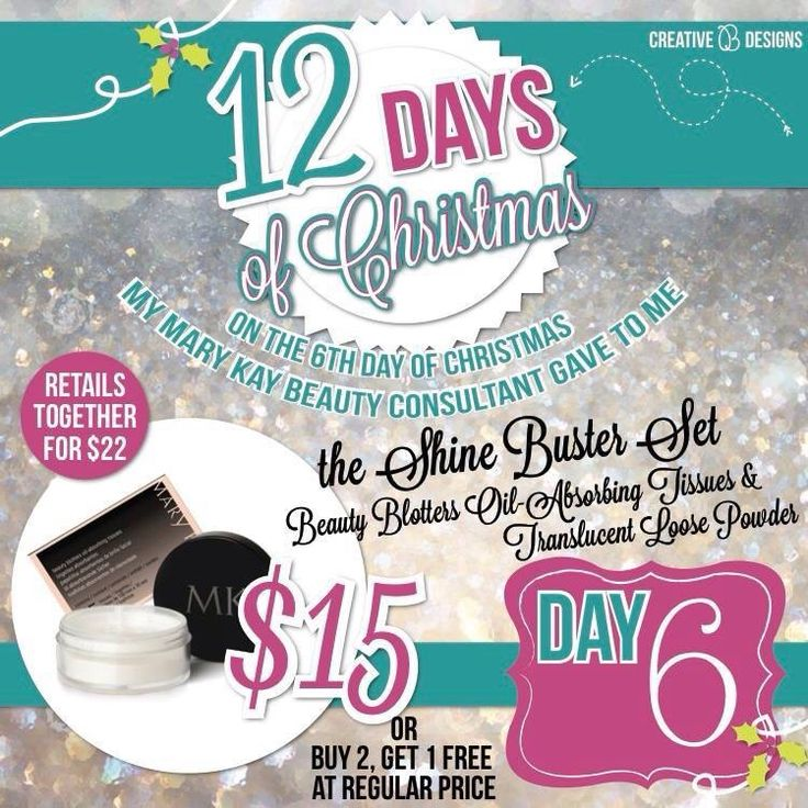 PINK 12 Days of Christmas  SALE! On the sixth day of Christmas my Mary Kay Beauty Consultant gave to me. The SHINE BUSTERS Set! Here's the link > http://www.marykay.com/brookeramsey/en-US/Makeup/Shine-Busters/10080373.partId?eCatId=10003 *Personal Message me for your PROMO CODE! http://brookeramsey.unitwise.com/Page/home  www.Facebook.com/brookeashleyramsey   www.Pinterest.com/BrookeMaryKay  #MaryKay #12DaysofChristmas #Discoverwhatyoulove #6thDay