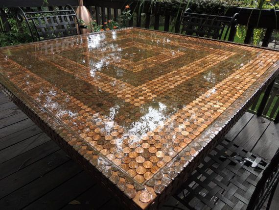 The 25 best penny coffee tables ideas on pinterest for Copper penny bar top