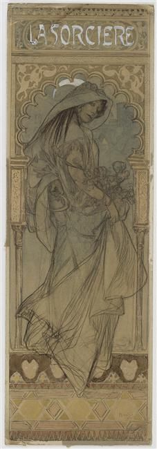 La Sorcière, a 20th century Art Nouveau poster by Alphonse Mucha (1860–1939). Charcoal, coloured pencil, watercolour, 67.5 x 23 cm | Louvre