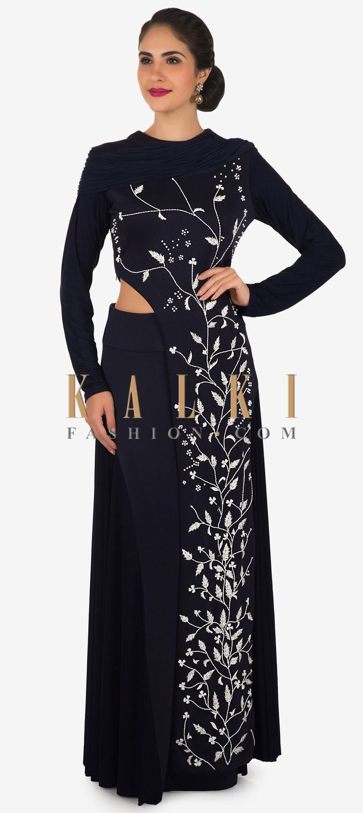 Buy Online from the link below. We ship worldwide Click Anywhere to Tag Navy blue suit in lycra with motif work matched with skirt only on Kalki
