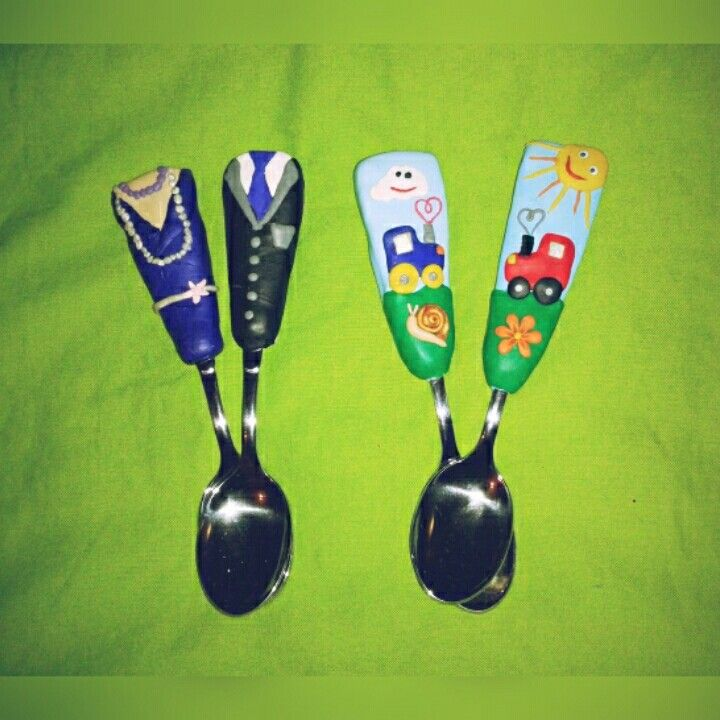 Polymer clay spoon, gift for a family