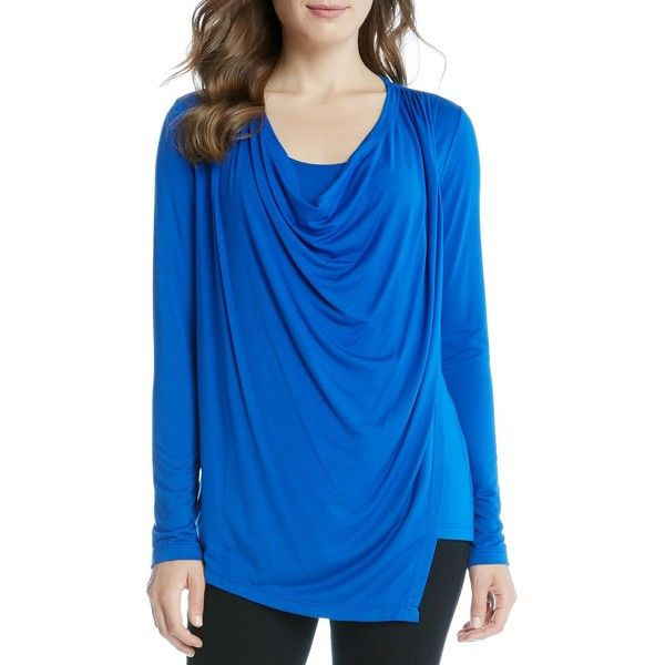 Karen Kane Asymmetric Drape Front Top (2,740 INR) ❤ liked on Polyvore featuring tops, bright blue, karen kane, asymmetrical tops, slouchy tops, draped tops and drapey tops