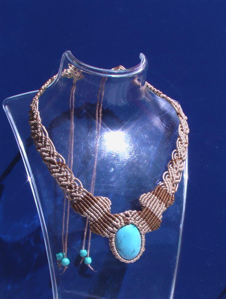 -Macrame Necklace with turquoise, ... -Collana macrame' con pietra turchese -Κολιέ macrame πέτρες Τιρκουάζ