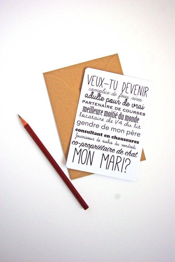 Carte postale Demande en mariage Homme Femme - Frais de port offerts! St Valentin / Amour/ Mariage