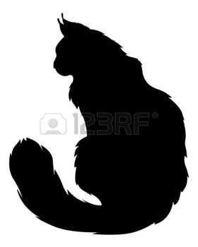 silhouette: Vector illustrations of silhouette of black furry cat Illustration