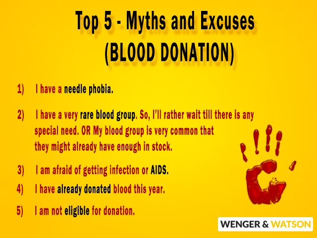 Top 5 myths and excuses that people give to restrain themselves from blood donation : 1)I have a needle phobia. 2)I have a very rare blood group. So, I'll rather wait till there is any special need. OR My blood group is very common that they would be having enough in stock. 3)I am afraid of getting infection or AIDS. 4)I already donated blood this year. 5)I am not eligible for donation. For more info.. http://on.fb.me/1pnTz65