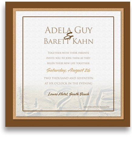 160 Square Wedding Invitations - Love'n Sand by WeddingPaperMasters.com. $419.20. Now you can have it all! We have created, at incredible prices & outstanding quality, more than 300 gorgeous collections consisting of over 6000 beautiful pieces that are perfectly coordinated together to capture your vision without compromise. No more mixing and matching or having to compromise your look. We can provide you with one piece or an entire collection in a one stop shoppin...
