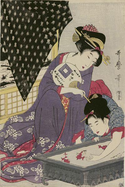 喜多川歌麿の「金魚」。 少女がいたずらで金魚を手にすくい上げようとしている様子を、うちわを持つ若い女性が眺めている風景…