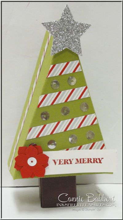 Cutie Pie Box, Christmas Tree box, favor, treat. Stampin' Up!, #stampinup, created by Connie Babbert, www.inkspiredtreasures.com