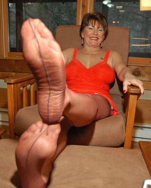 Break your worshipping mature women s stockinged feet add