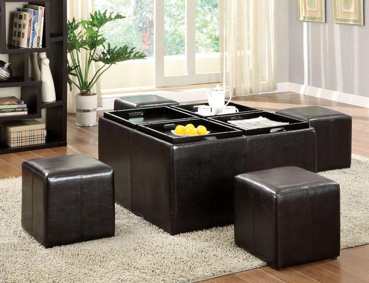 5 Piece Verano Leather Coffee Table Ottoman Set
