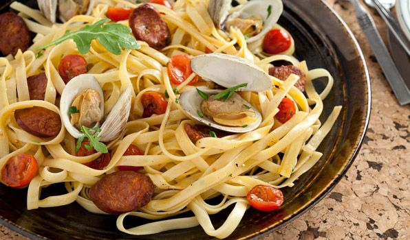 Fettucine with Clams, Chorizo Sausage and Tomatoes in a White Wine Sauce.