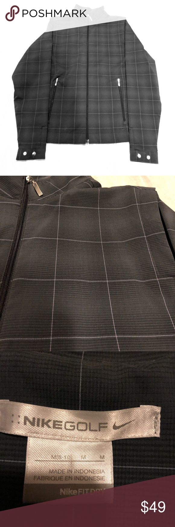 Like New Nike Golf Jacket Perfect jacket just too big for me. Size M (8-10) Nike Golf Jacket. Nike Fit Dry Technology. Colors are grey black and white pattern. Nike Jackets & Coats
