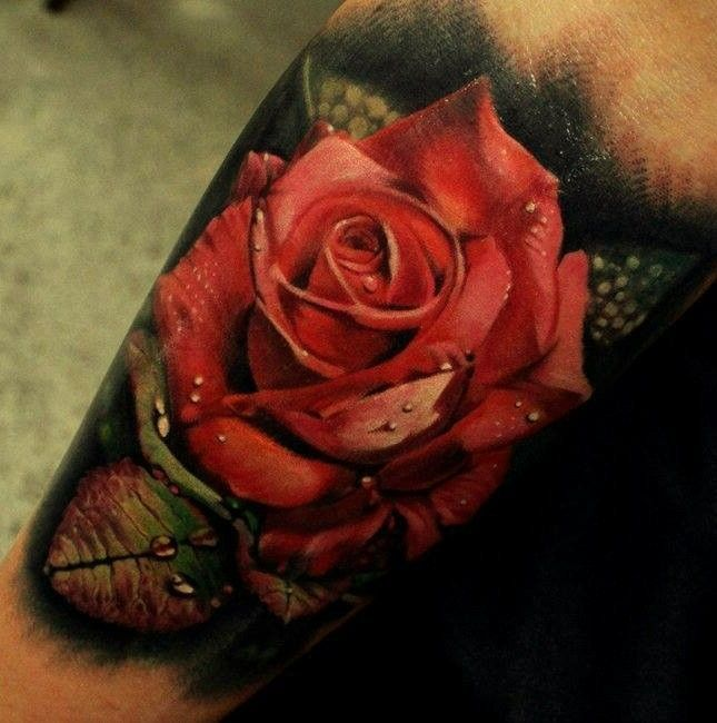 3d Red Rose Tattoo picture