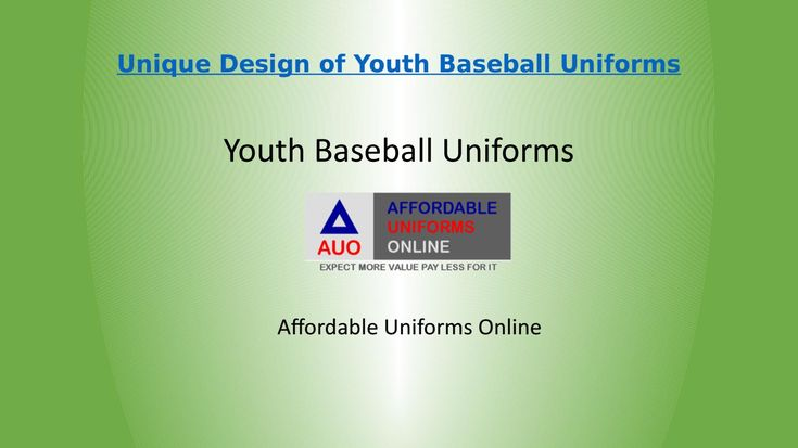 Unique design of youth baseball uniforms