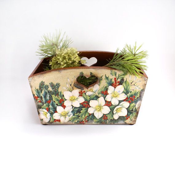 Holly and hellebore Wooden Box Winter Home Decor by Alenahandmade, $45.00