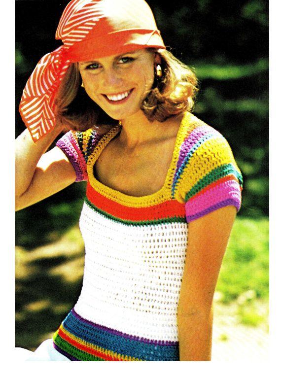 Vintage 70s Crochet RAINBOW Sleeved Top PDF by KinsieWoolShop, $3.20