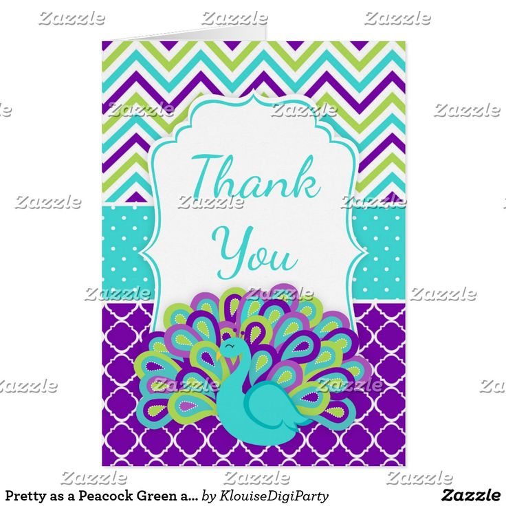 Pretty as a Peacock Green and Purple Thank You Card