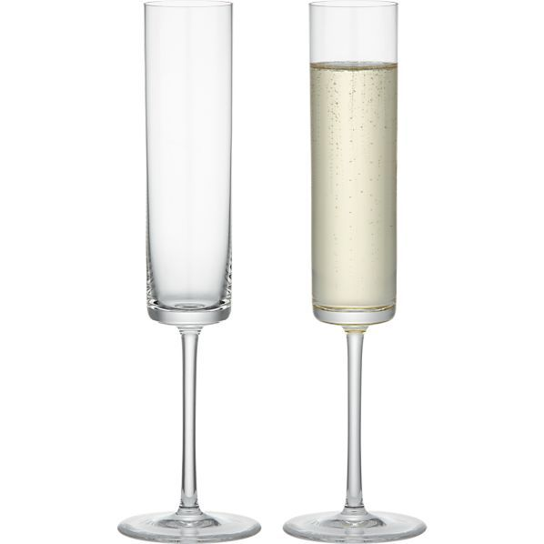Edge Sparkling Wine in Champagne Flutes | Crate and Barrel