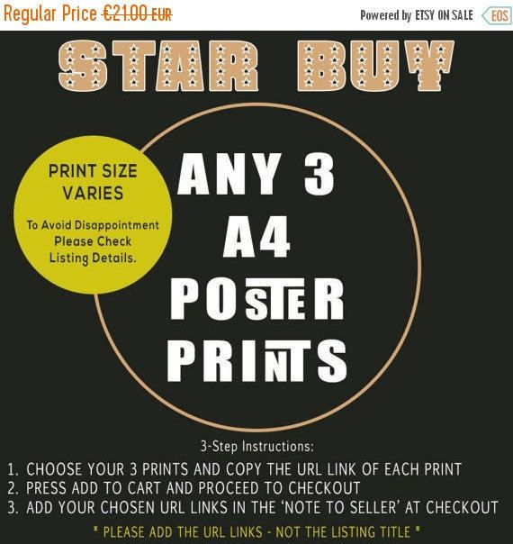 HOLIDAY SALE STAR Buy - Any Three (3) A4 Poster Prints - Bulk Quantity Discount Offer by TheRetroPoster on Etsy