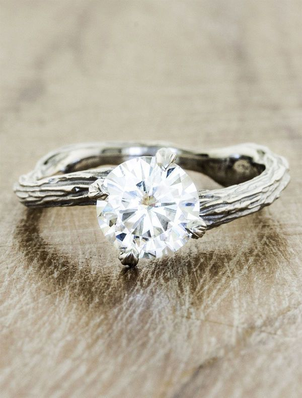 When searching for your perfect engagement ring, check out varied styles of bands. It could be that you want something unique to highlight the beauty of your round diamond. This branch-inspired band is ideal for boho or rustic chic brides that want a ring that fits easily into their style aesthetic.