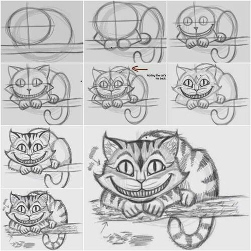 Chesire cat drawing tutorial