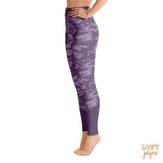 Purple Camo Yoga Leggings // Women's Leggings // Yoga Pants // Workout Leggings // High Waisted Leggings // Exercise Leggings / Fitness Gear