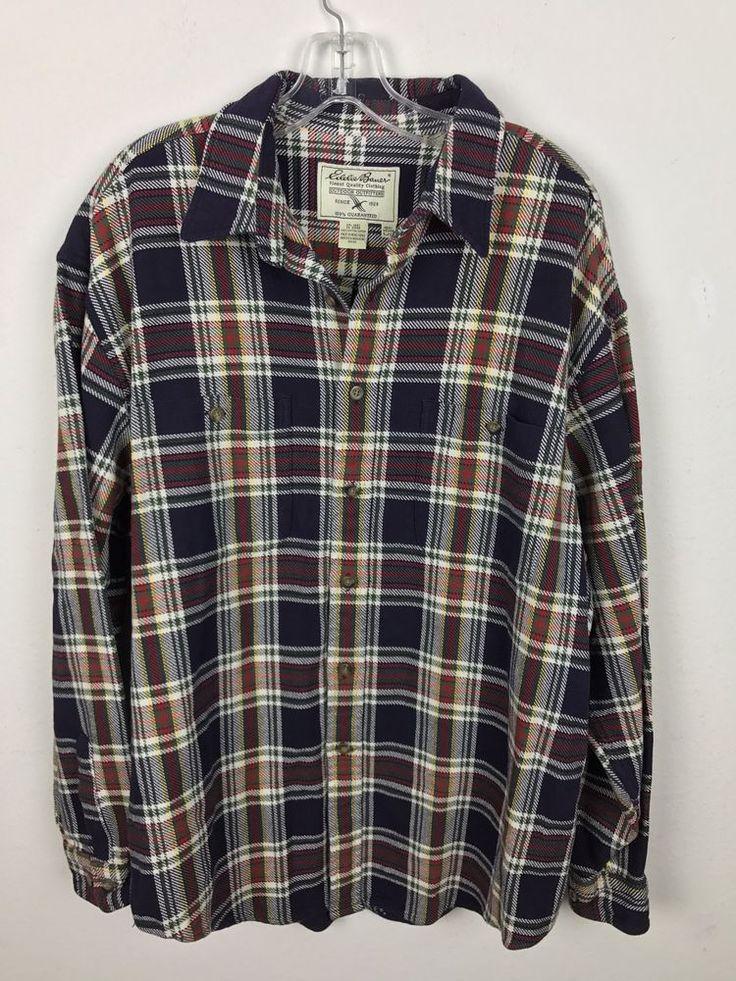 Eddie Bauer Heavy Shirt Size L Outdoor Outfitters Jacket Plaid Button Front  #EddieBauer #ButtonFront