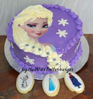 Disney's Frozen Princess Elsa purple Birthday Cake with Elsa, Anna, and Olaf Cookies