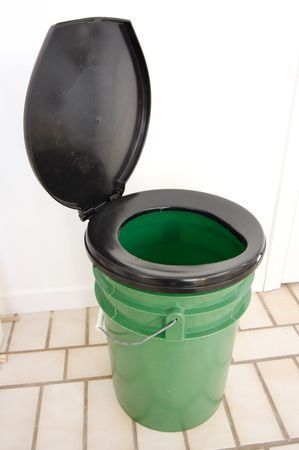 how to make a bucket toilet (for when you go camping and all they have where you are is a gross disgusting outdoor toilet with dead moths inside)