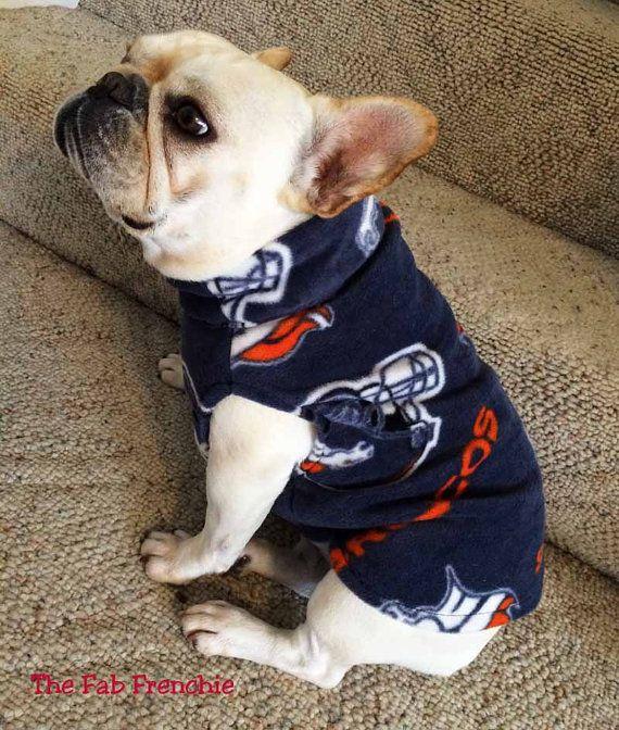 French Bulldog Frenchie Denver Broncos Fleece by TheFabFrenchie