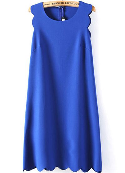 Blue Sleeveless Zigzag A Line Dress pictures