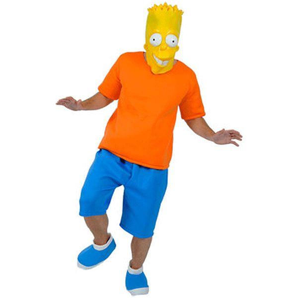Bart Simpson kostuum met masker. Compleet Bart Simpson kostuum dat bestaat uit de korte blauwe broek, oranje, t-shirt, het masker en de schoenhoezen. Carnavalskleding 2015 #carnaval