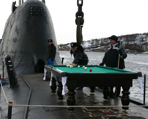 And now for something completely different, billiards on an Akula!
