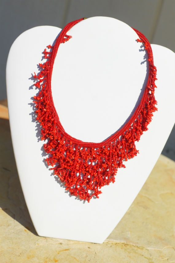 Red Necklace Beaded Necklace Coral Beadweaving with Seed Beads Choker Necklace Fringe Necklace. via Etsy.