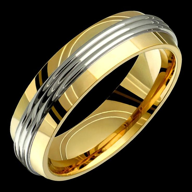 6mm twotone comfort fit 10k solid gold not plated wedding