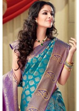 Blue Colour Kanchipuram Silk Saree with Zari Work - SR2592
