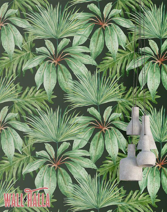 Jungle Palm Leaves Wallpaper - verwisselbare Wallpaper - Monstera en Palm blad Wallpaper - bloemenprint - tropische Peel en Stick behang