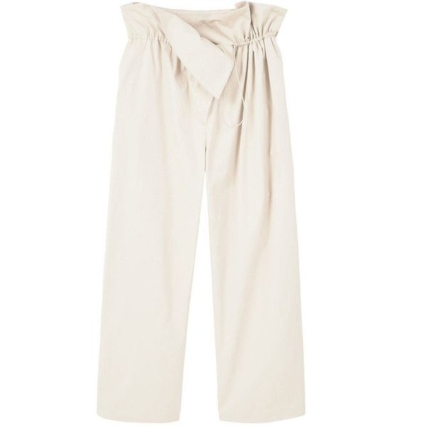 Adjustable Waist Trousers (97 AUD) ❤ liked on Polyvore featuring pants, white cotton pants, white elastic waist pants, white pants, mango trousers and white trousers