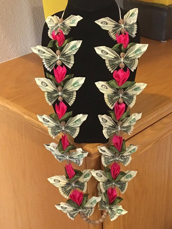 Satin Tulip and Butterfly Money Lei