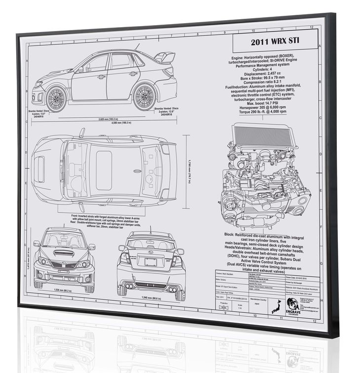 17 best car blueprints images on pinterest 911 turbo chevrolet this model retains the same engine as the previous generation sti which is a 25 malvernweather Choice Image