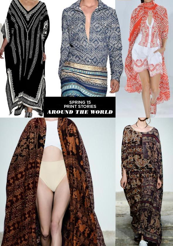 "Patterns from around the world are very on trend right now, especially bohemian prints. Tribal prints and Indian/Middle eastern patterns are in as well. These are all in for Spring/Summer 2015. These patterns can also be seen in accessories and interior design. ""Around the World - Runway 