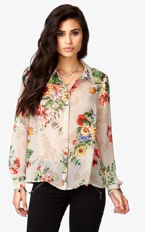 Casual Flower Prints Chiffon Blouse-$12.90FREE SHIPPING