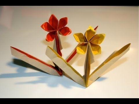 Origami fleur sur tige youtube origami pinterest origami montres e - Youtube origami fleur ...
