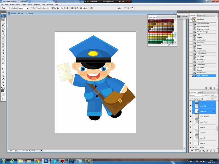 Illustrating drawing painting - cartoon postman
