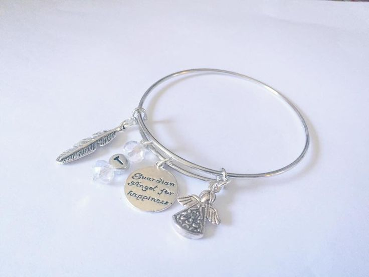 Charming bangle commission for the lovely jen :) #initial #mantra #feather #angel #bangle #bracelet xx