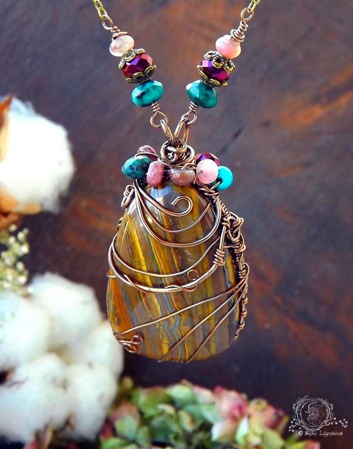 Collier wire wrapping imposant Oeil de tigre, Tourmaline, Turquoise, Chrysocolle et cristal: ᘛ Murmures enchantées ᘚ : Collier par obijouxlegendaires