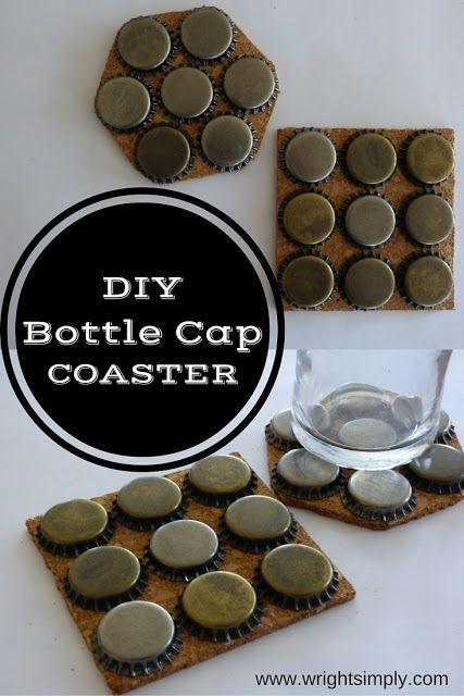 DIY Bottle Cap Coasters make a great gift or perfect for that home bar!