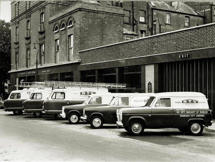 29 March 1963  RTV rentals motor fleet outside the Munster and Leinster Bank Pembroke branch 52 Upper Baggot Street, Dublin. RTV provided a rental television service until the company's final closure of its last three stores in 2006